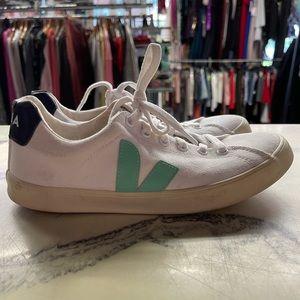 Womens Veja Esplar White Teal Logo Sneakers